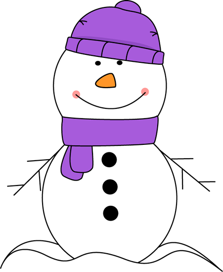 snowman-wearing-purple-scarf-hat